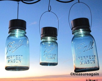 Trio of Mason Jar Solar Lights Combo 2 Qt 1 Pt Antique Blue Hanging Solar Mason Jar Lanterns for Gardener or Naturalist Gift Giving
