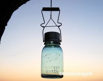 Upcycled Light Solar Mason Jar with Antique Canning Jar Lifter, Handmade Reclaimed Garden Decor, Country Garden Lighting