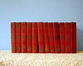 Old Encyclopedia Set 1920s Standard Reference Work Home Library School Study Books Red Gold Embossed  Illustrated 1920s History 12 Volume
