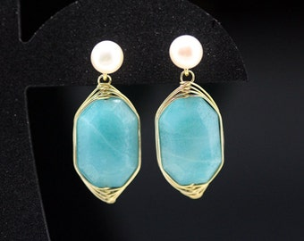 1pair(je-0309ag) - handmade earrings with natural amazonite,pearl,sterling silver and brass plated gold