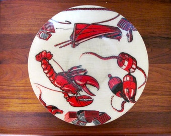 Lobster Bowl, vintage 1950s  Fiberglass Artmor Bowl for clambakes, bbqs, fishermen, and nautical themed parties
