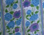 3 Yards Vintage Blue Rose Print Fabric, 1960s