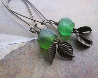 emerald green recycled glass and bronze leaves - the kaitlyn earrings
