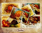 Vintage Thanksgiving Postcards Set of 4 Popular Cards for your Scrapbooking Postcards Thanksgiving Sets No2