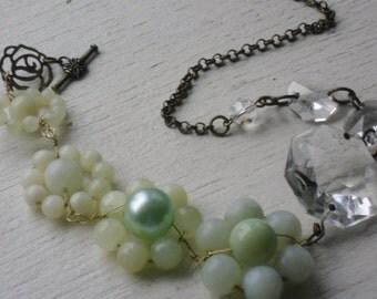 jade beaded flowers repurposed vintage chandelier crystals necklace-ooak necklace-assemblage jewelry