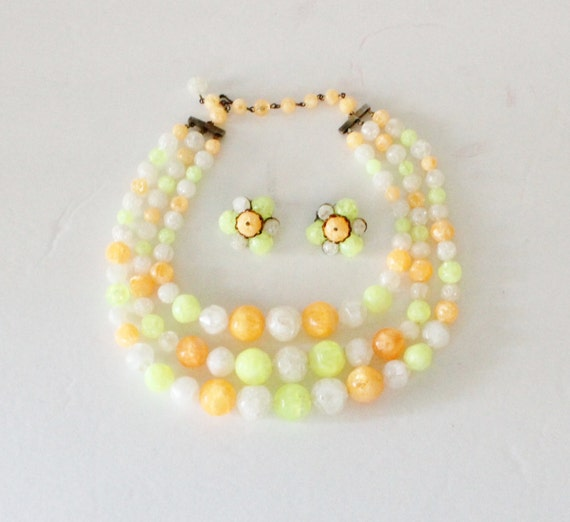 Vintage CITRUS Three Strand Necklace with Matching Clip On Earrings - neon, mod, white, 1970s
