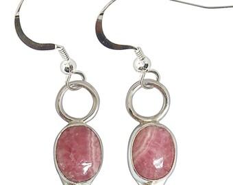 Rhodochrosite and Sterling Silver Earrings  erhce2235