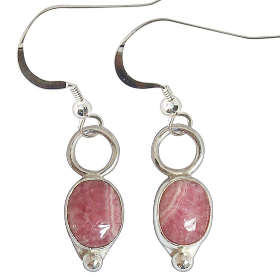 Rhodochrosite and Sterling Silver Earrings  erhce2235