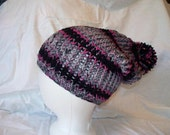 Loom Knit Slouch Hat fits kids to adults