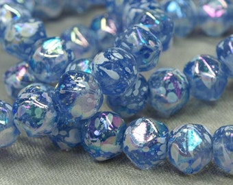 Strand of 20 Periwinkle Splattered German Glass Beads.  NGL612