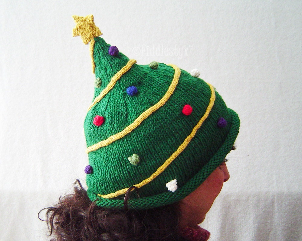 Knitting Pattern Christmas Tree Hat Pattern By