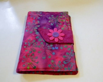 Raspberry and Green Floral Batik Kindle Fire/Kindle Keyboard Case