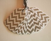 Silver Glittered Chevron Gift Tags (10)