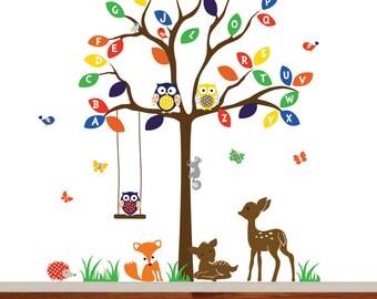 Children owl tree wall decal alphabet tree deer fox forest wall decal vinyl wall decal ABC decal