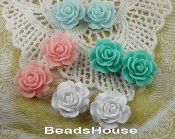 696-00-CA 8pcs (15mm) High Quality Rose Cabochon-Mix Colour
