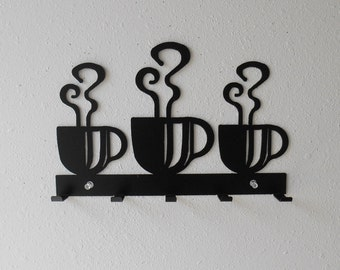 Coffee / Dish Towel Rack / Metal Wall Hanging / Keys / Oven Mitts / Kitchen Organizer