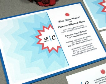 Modern Wedding Invitations - Sunburst Wedding Invitation - Comic Book Wedding Invitation - Bold Wedding Invitation - Red and Teal Wedding