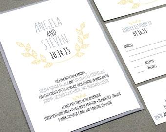 Laurel Wedding Invitation Set, Rustic Wedding Invitations, Leaf Wedding Invitation Suite, Modern Wedding Invitation, Yellow and Gray Wedding
