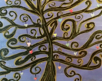 Tree With Hanging Hearts Orginal Painting 18x18