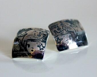 Starry Eyes Graffiti Etch Sterling Silver Earrings - handmade