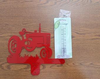 Red Tractor Rain Gauge
