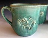 Bee mug, stoneware mugs, handmade mugs by Leslie Freeman