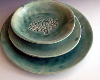 hand made place setting lotus flower stamped dinnerware stoneware dinnerware tableware by leslie