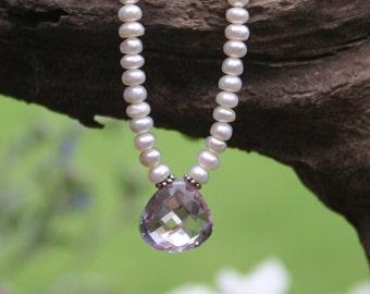 Amethyst Necklace / Freshwater Pearl Necklace / Elegant Romantic Necklace / Wedding Bridal Necklace
