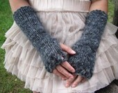 SALE 30 % Cozy Long Hand knitted Fingerless Gloves in black, charcoal and grey shades