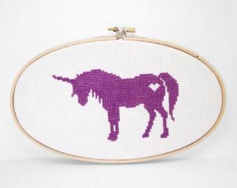 Finished Cross Stitch Wall Art - Unicorn