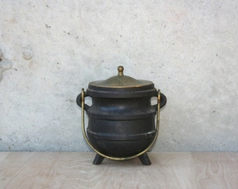 Antique Cast Iron Pot with Brass Lid and Handle Fire