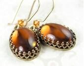 Amber Earrings 14k Gold Fill Hook Earrings Dark Topaz Earrings Smoky Amber Glass Dangle Earrings Vintage Style Dainty Gold Earrings