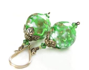 Green Earrings Hand Blown Apple Green Glass Earrings Antique Gold Earrings Spring Fashion Summer Trends