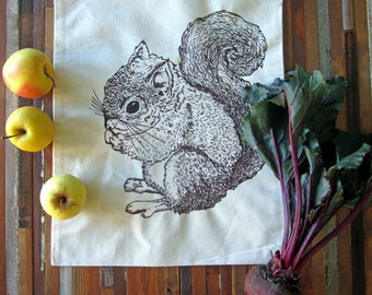 Reusable Produce Bags - Grocery Bags - Screen Printed - Cotton Produce Bags - Eco Friendly Bags - Handmade Farmers Market Bags - Squirrel