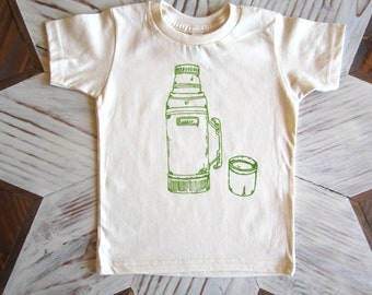 Organic Cotton Toddler Shirt - Screen Printed American Apparel kids T shirt - Vintage Thermos - Kids Clothes - Cotton Tee - You pick size