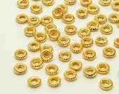 ME-166-GD / 30 Pcs - Mini Pleats Ring Centrepiece, 16K Gold Plated over Brass / 4mm