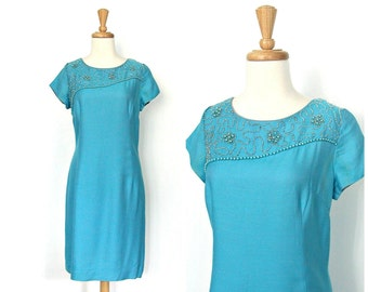 Vintage Shift Dress - 60s dress - beaded dress - sheath - blue party dress - Jackie Kennedy - knee length - medium