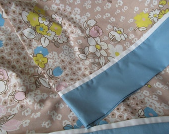 Retro Floral Pillowcase Pair Flowers Print Blue Brown White Made from Vintage Fabric Set of 2 Handmade Spring Summer Cases