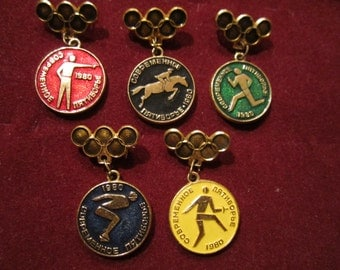 Set of 5 Vintage USSR CCCP  Olympics Game Moscow 1980 Collectible Badges Pins