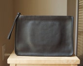 Authentic Vintage Coach Slim Clutch Large - Made in NYC - Unisex Black Leather Portfolio