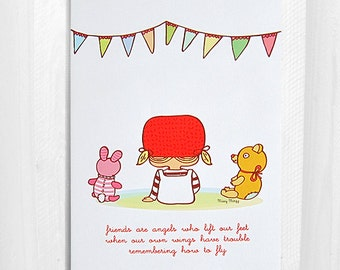 Friends Are Angels, Greeting Card, Bunny, Bear 5x7