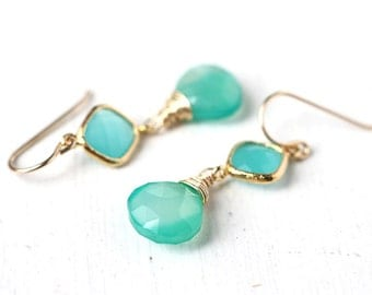 Light Teal Green Chalcedony Gold Earrings, Delicate Gold Dangle Earrings with Connector - Caribbean Dreams