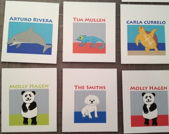 Calling cards 20 TAGS or gift cards personalized for children, tweenies, adults, penguins, panda bear,