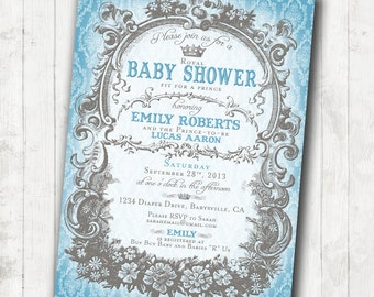 prince baby shower invitation roy al blue and grey diy printable