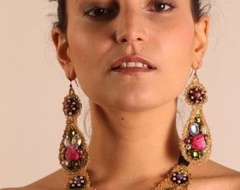 Bohemia, an opulent neckpiece with matching earrings. textile art, wearable art, accessories, couture, handmade, jewellery