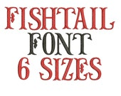 Fishtail Embroidery Font - 6 Sizes - Instant Download