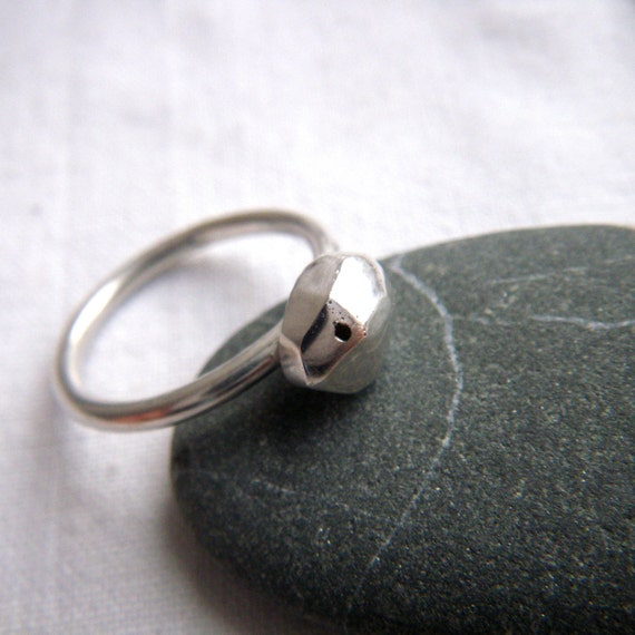 Silver Stacker Facet Ring by hybrid handmade Cari-Jane Hakes from the Essential Simplicity series