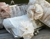Lace Bridal Clutch, Ivory Clutch, White Clutch, Champagne Clutch, Wedding Purse, Lace Wedding Gown {Couture Lace Gathered Pleat Kisslock }