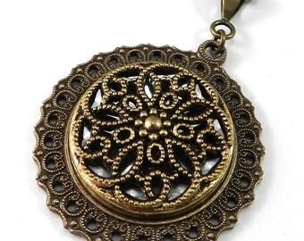 Victorian Jewelry, Antique Button Necklace, Radiant Gold & Silver Shimmer, Victorian Button Jewelry, Vintage Button Pendan