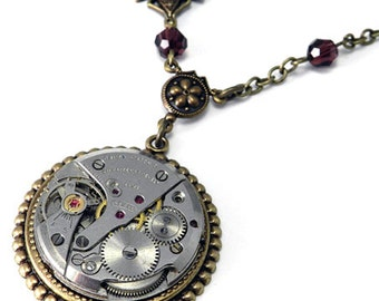 Steampunk Necklace - Mechanical Watch Movement Pendant Burgundy Crystal Asymmetrical Bee 17 Jewel Gruen Watch